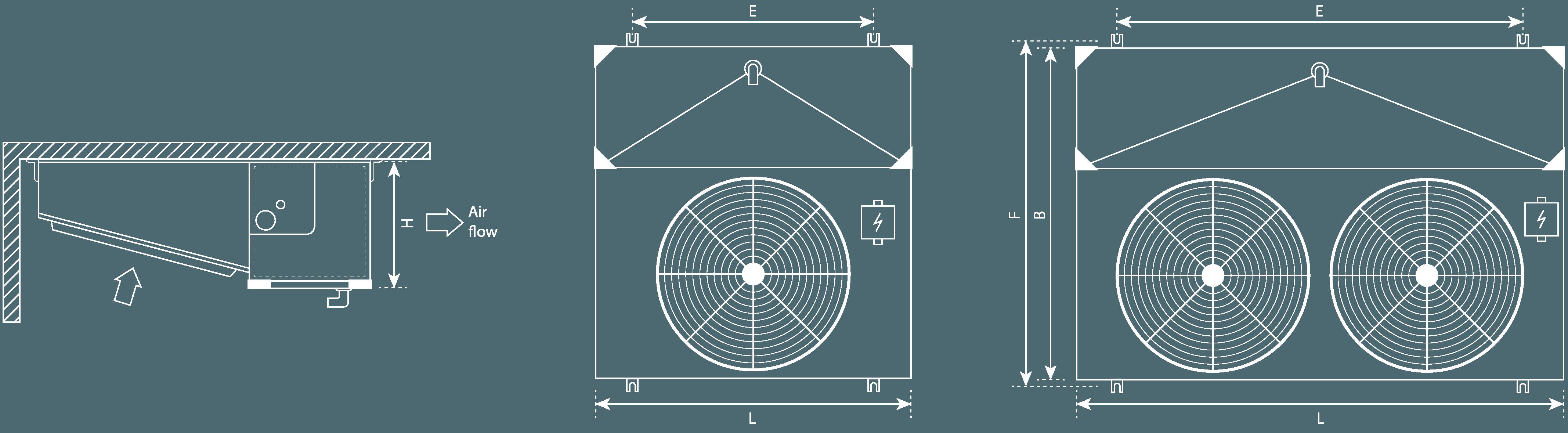 Single flow unit coolers technical sketch